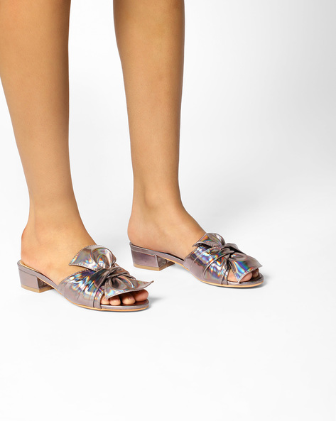 Heeled Sandals With Bow By AJIO ( Grey )