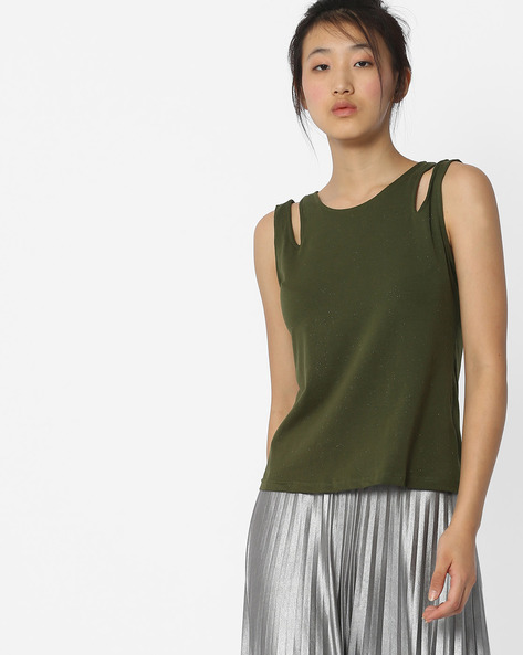 Sleeveless Top With Cut-Out Shoulders By ANONYMOUS CO ( Olivegreen )