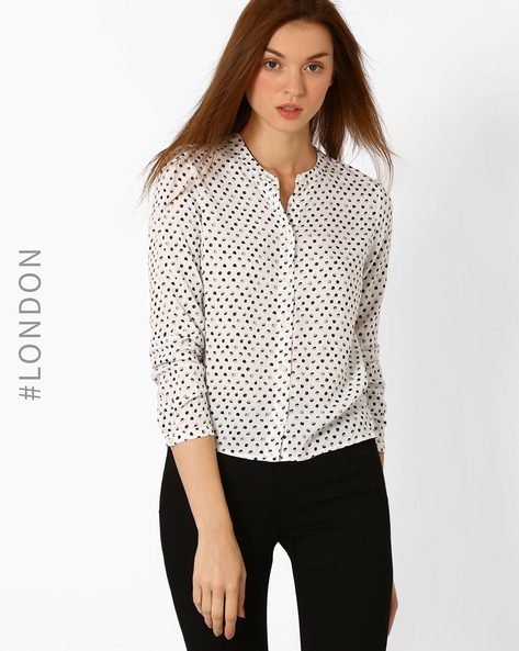 Polka-Dot Print Top With Mandarin Collar By Marks & Spencer ( Cream )