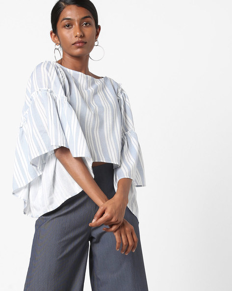 Striped Top With Flared Sleeves By AJIO ( Blue )