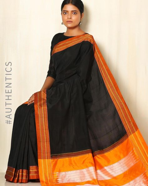 Handwoven Chikki Paras Cotton Silk Ilkal Saree By Shri Chamundeshwari ( Black )