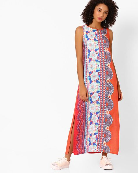 Printed Maxi Dress With Side Slits By Global Desi ( Coral )