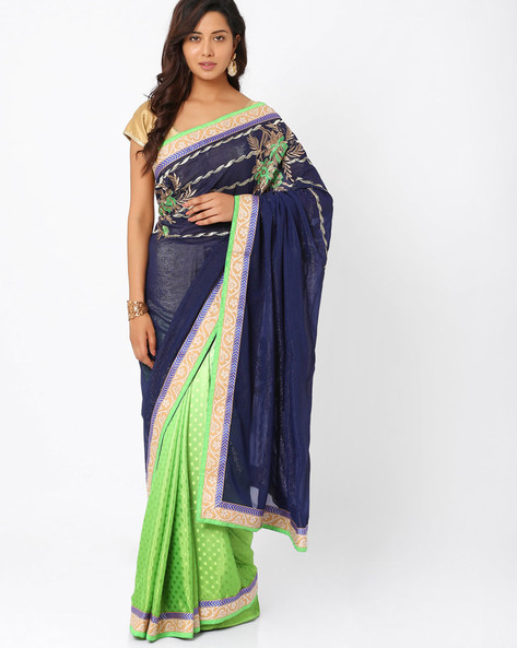 Embroidered Crepe Jacquard & Shimmer Georgette Half & Half Saree By Majestic Silk ( Green )