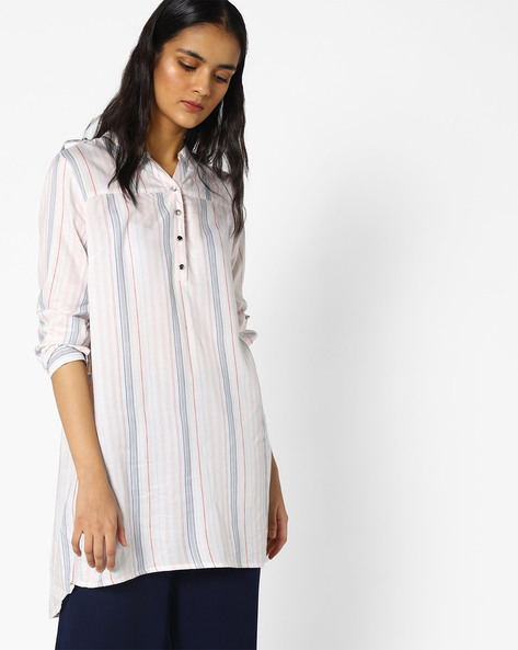 Striped Tunic With Mandarin Collar By Project Eve WW Casual ( Offwhite )