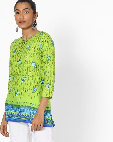 Printed Tunic With Neck Tie-Up By Global Desi ( Lime )