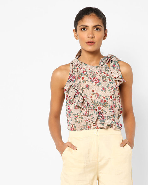 Sleeveless Printed Top With Ruffled Panel By AJIO ( Beige )