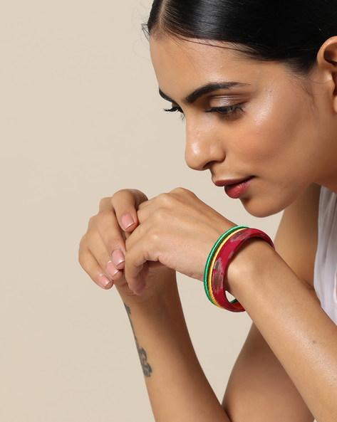 Set Of 3 Handloom Ikat Silk And Silk Thread Bangles By PADMAHASTHA ( Magenta )