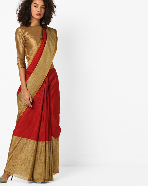Printed Silk Saree With Contrast Border By Florence ( Red )