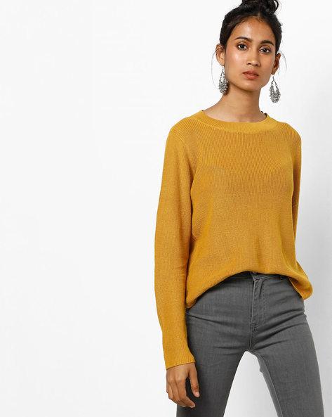 Knitted Crew-Neck Top By Vero Moda ( Golden )