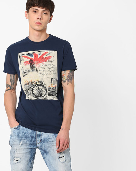Graphic Print Cotton T-shirt By Pepe Jeans ( Blue )