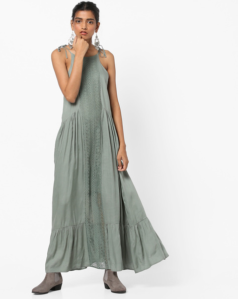 Strappy Maxi A-line Dress With Lace Panel By AJIO ( Lightgreen )