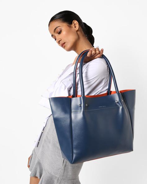 PU Tote Bag By Kanvas Katha ( Blue )