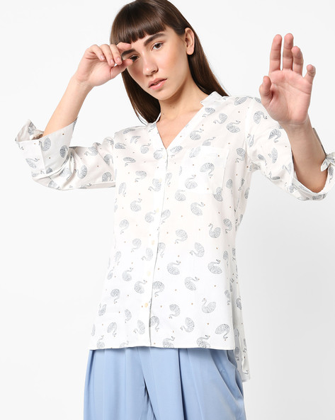 Printed High-Low Shirt With Tie-Up Sleeves By AJIO ( White )