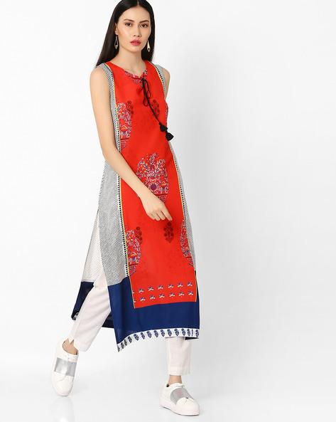 Sleeveless Kurta With Tassel Tie-Up By W ( Red )