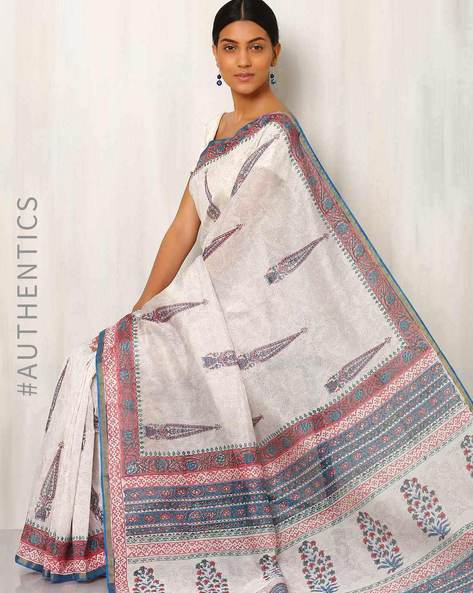 Hand Block Printed Chanderi Saree By Indie Picks ( Multi )