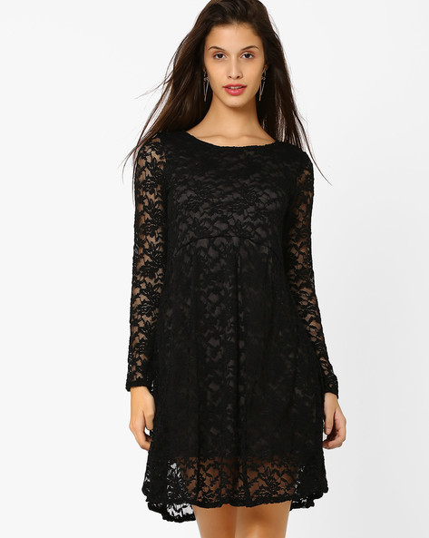Lace Skater Dress By CHM ( Black )
