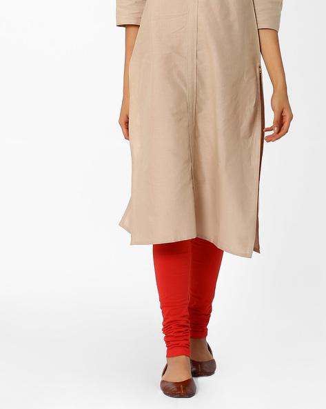 Churidar Leggings With Elasticated Waist By AURELIA ( Red )