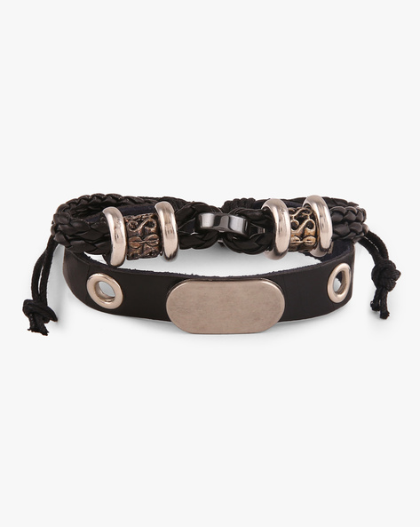Faux Leather Studded Bracelet By ALPHA MAN ( Multicolor )