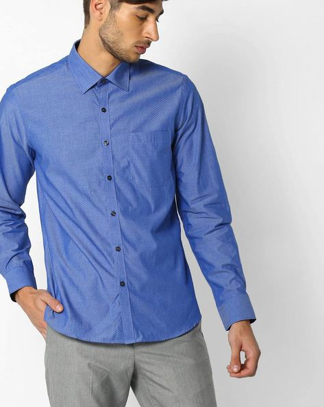 Regular Fit Printed Shirt By NETWORK ( Blue )