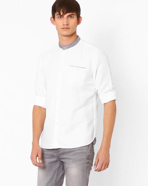 Mandarin Collar Shirt With Welt Pocket By NETPLAY ( White )