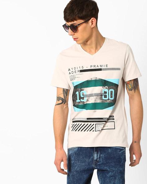 Graphic Print Slim Fit T-Shirt By AJIO ( Lightgrey )