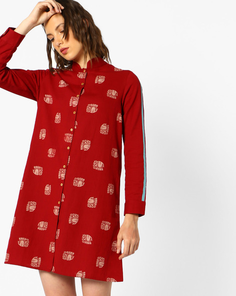 Printed Shirt Dress By AJIO ( Red )