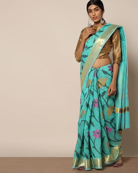 Banarasi Silk Cutwork Floral Jaal Saree By Banarasi Style ( Green )
