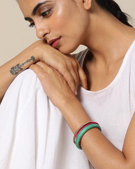 Handloom Pure Tussar Silk & Silk Thread Bangle Set By PADMAHASTHA ( Lightgreen )