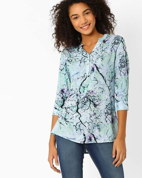 Printed Tunic Shirt By Recap ( Blue )