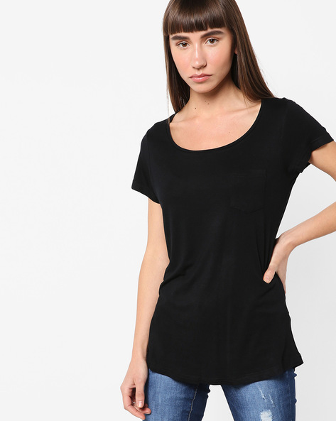 Scoop-Neck Top With Patch Pocket By Fame Forever By Lifestyle ( Black )