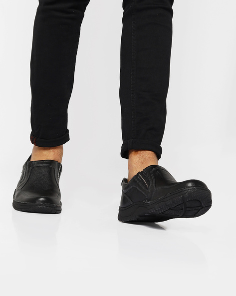 Genuine Leather Slip-Ons With Perforations By Lee Cooper ( Black )