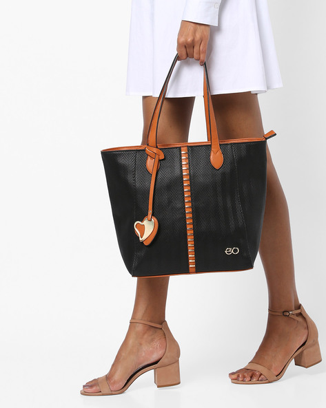 Tote Bag With Metal Accents By E2O ( Black )