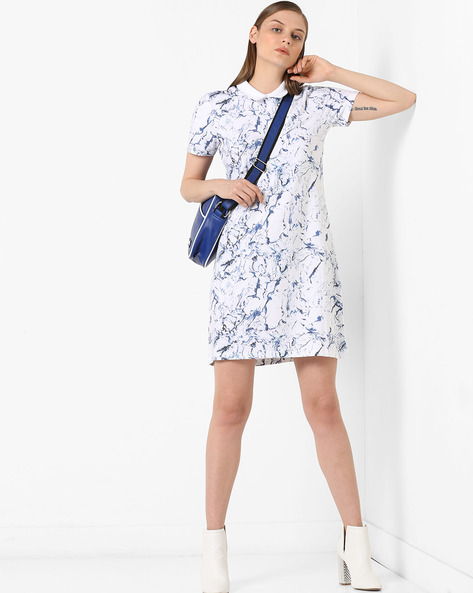 Printed Shift Dress With Peter Pan Collar By Project Eve WW Athleisure ( White )