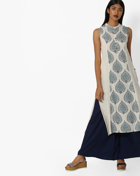 Printed Sleeveless Straight Kurta By AVAASA MIX N' MATCH ( Teal )