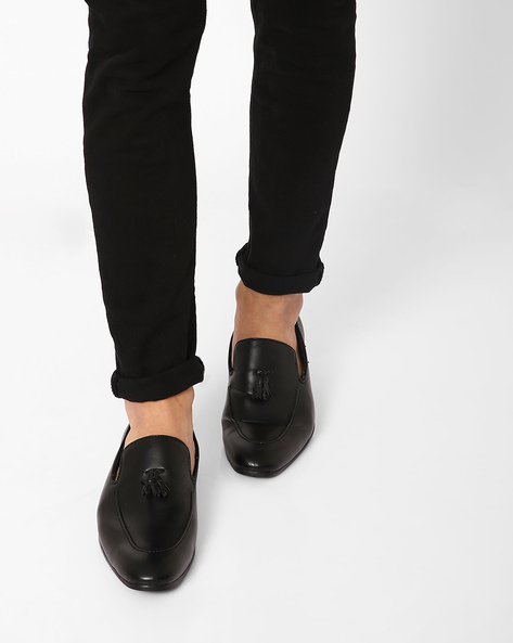 Faux-Leather Loafers With Tassels By AJIO ( Black )