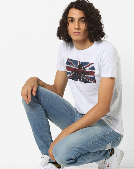 Graphic Print Slim Fit Cotton T-shirt By Pepe Jeans ( Lgtgrey )
