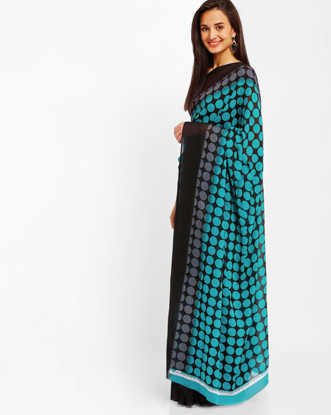 Printed Faux Georgette Saree By Florence ( Blue )