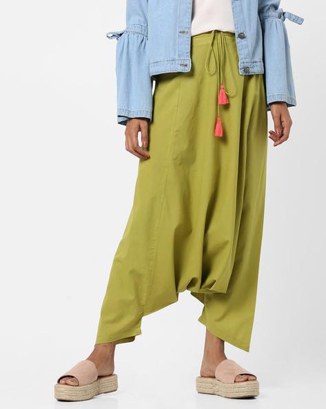 Harem Pants With Drawstring Waist By AJIO ( Lightgreen )