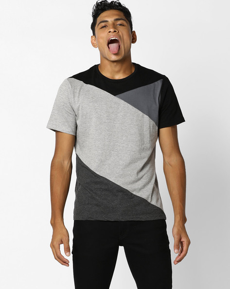Cut & Sew Colourblock T-shirt By AJIO ( Black )