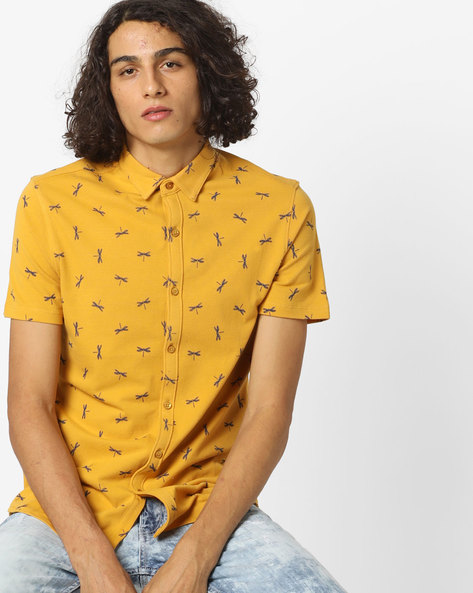 Printed Shirt With Spread Collar By AJIO ( Yellow )