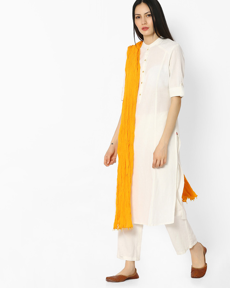 Crushed Dupatta With Beaded Tassels By AVAASA MIX N' MATCH ( Yellow )