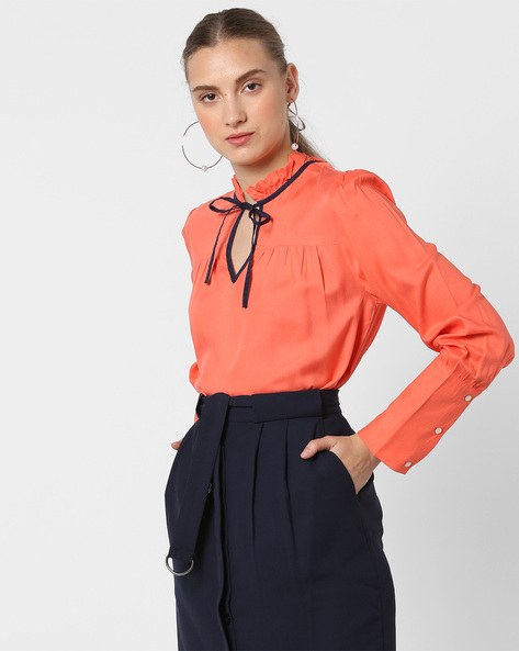 Ruffled Top With Tie-Up By AJIO ( Coral )