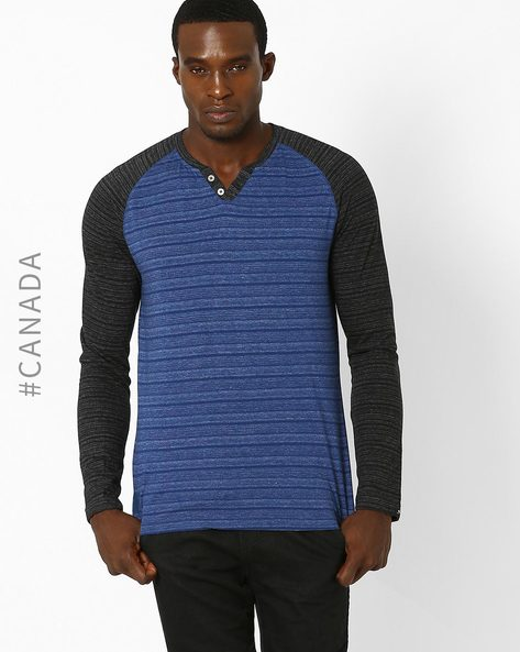 Textured Slim T-shirt With Raglan Sleeves By Point Zero ( Cadet )