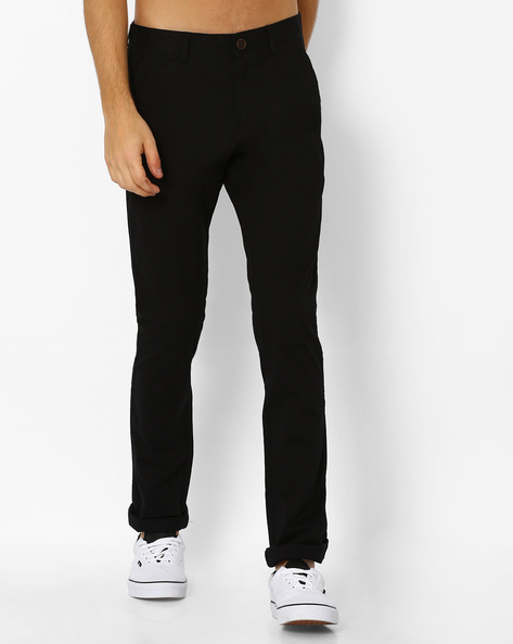 Mid-Rise Dobby Chinos By NETPLAY ( Black )