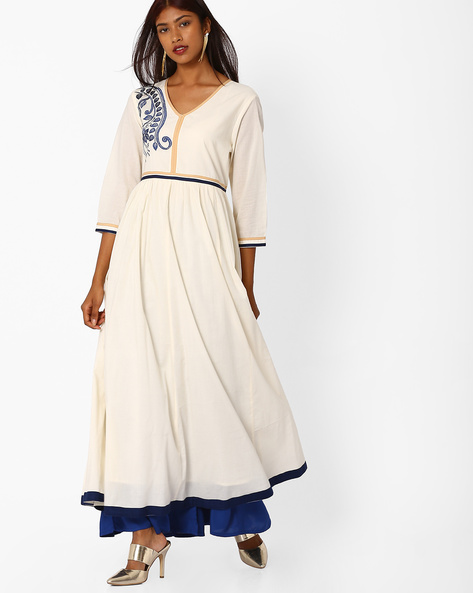 Maxi Dress With Contrast Taping By Khimsariya ( Offwhite )