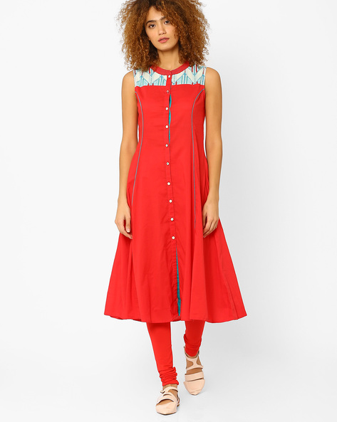 A-line Kurta With Full Button Placket By AJIO ( Coral )