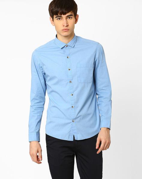 Sim Fit Casual Shirt By JOHN PLAYERS ( Blue )