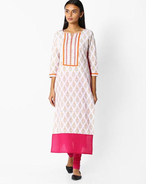 Printed Straight Kurta By Jaipur Kurti ( Offwhite ) - 460045460005