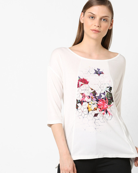 Panelled Floral Print Top By Project Eve WW Casual ( Offwhite )