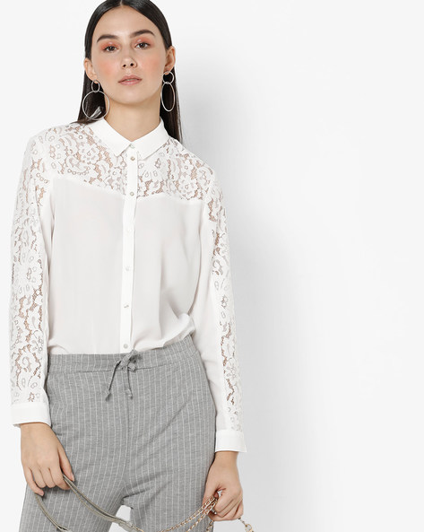 Shirt With Lace Panels By Only ( White )